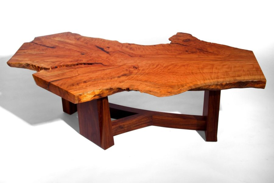 wood slab coffee tables with aluminum legs