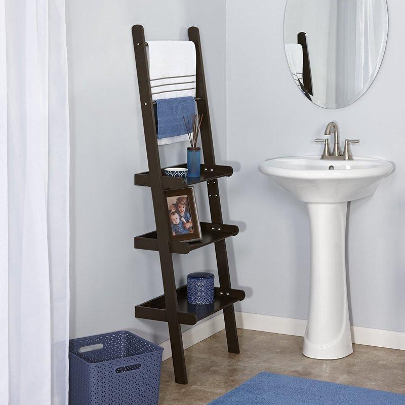 bathroom wall ladder shelf