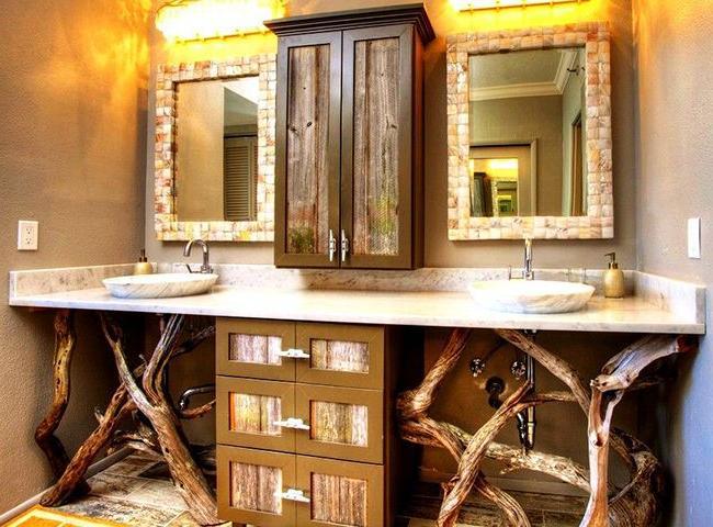 rustic wood bathroom storage cabinets