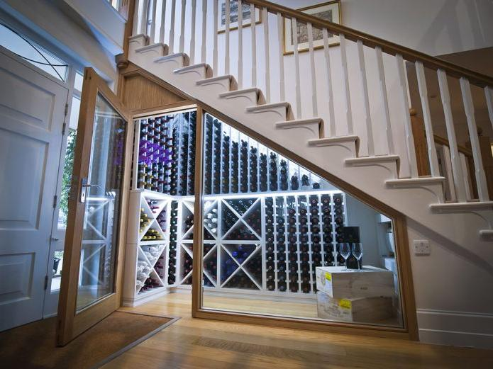 Wine cabinet under staircase