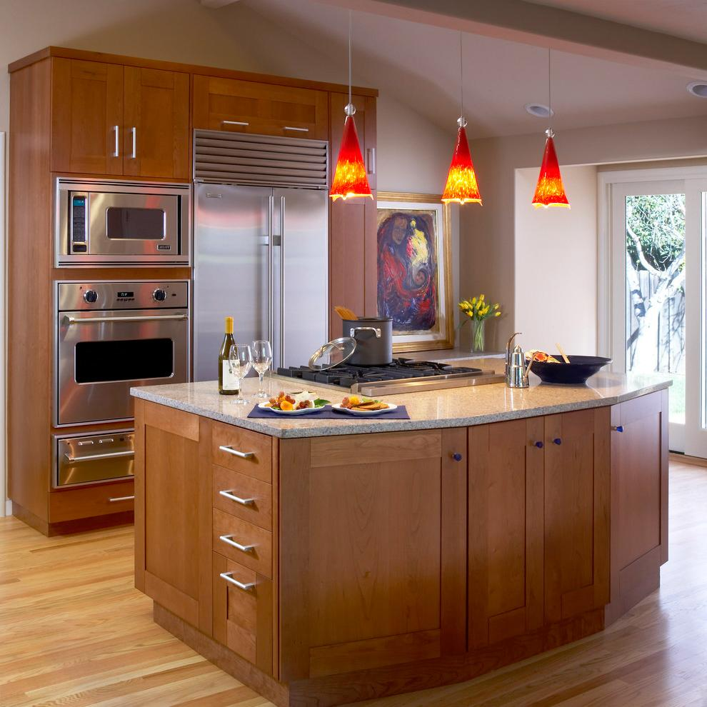 wood kitchen island lights