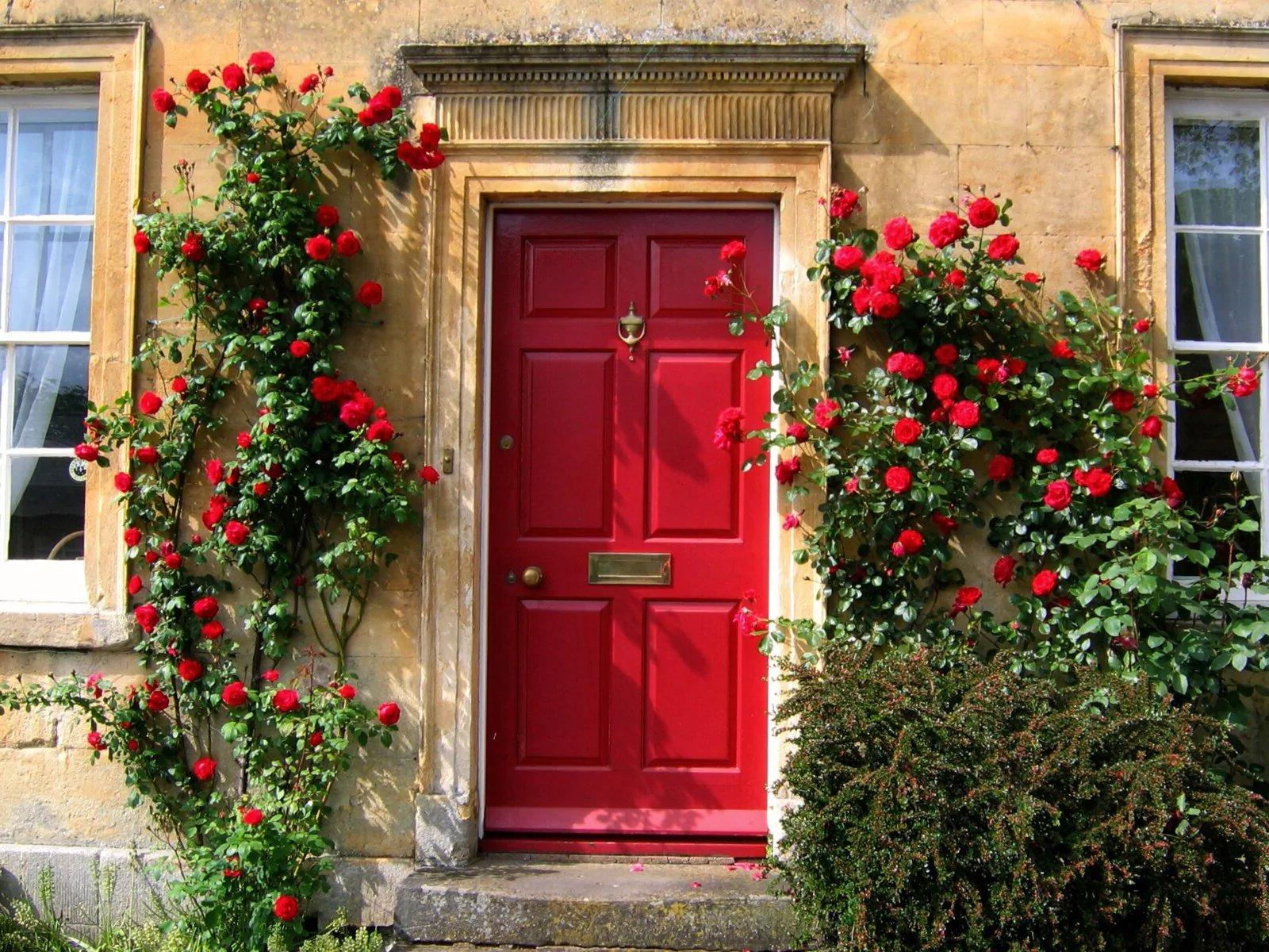 Front door decor with flowers
