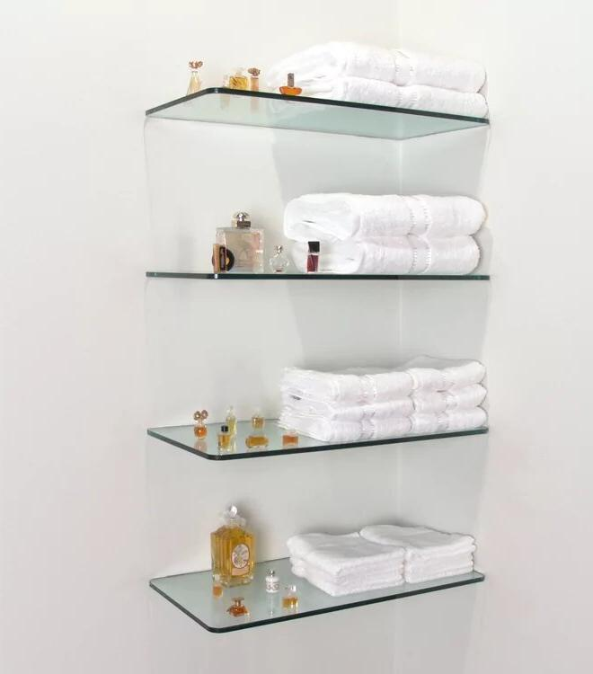 Glass shelves for storing cosmetics and towels