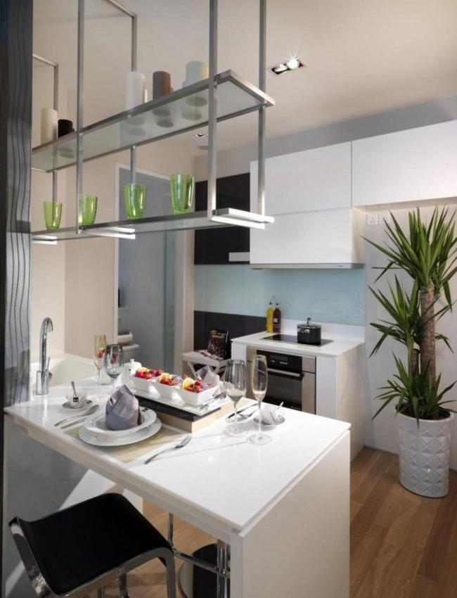 Hinged glass shelves in the kitchen in the style of minimalism