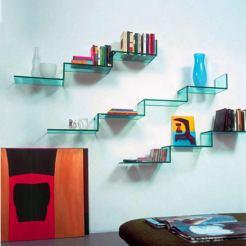 Living room glass shelves
