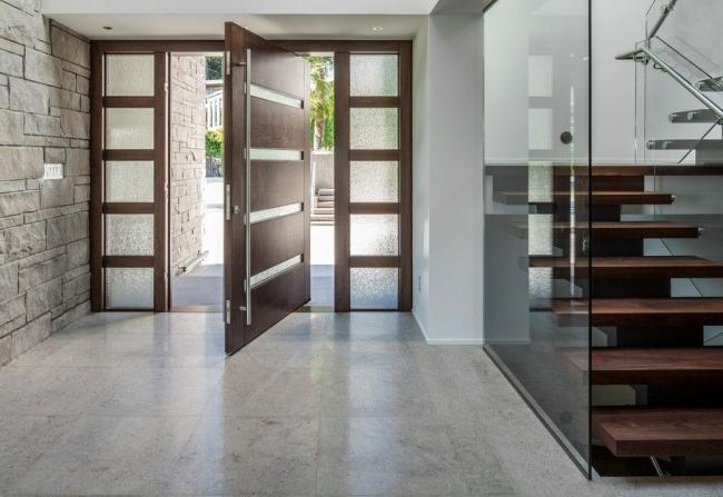 Metal doors with solid wood trim
