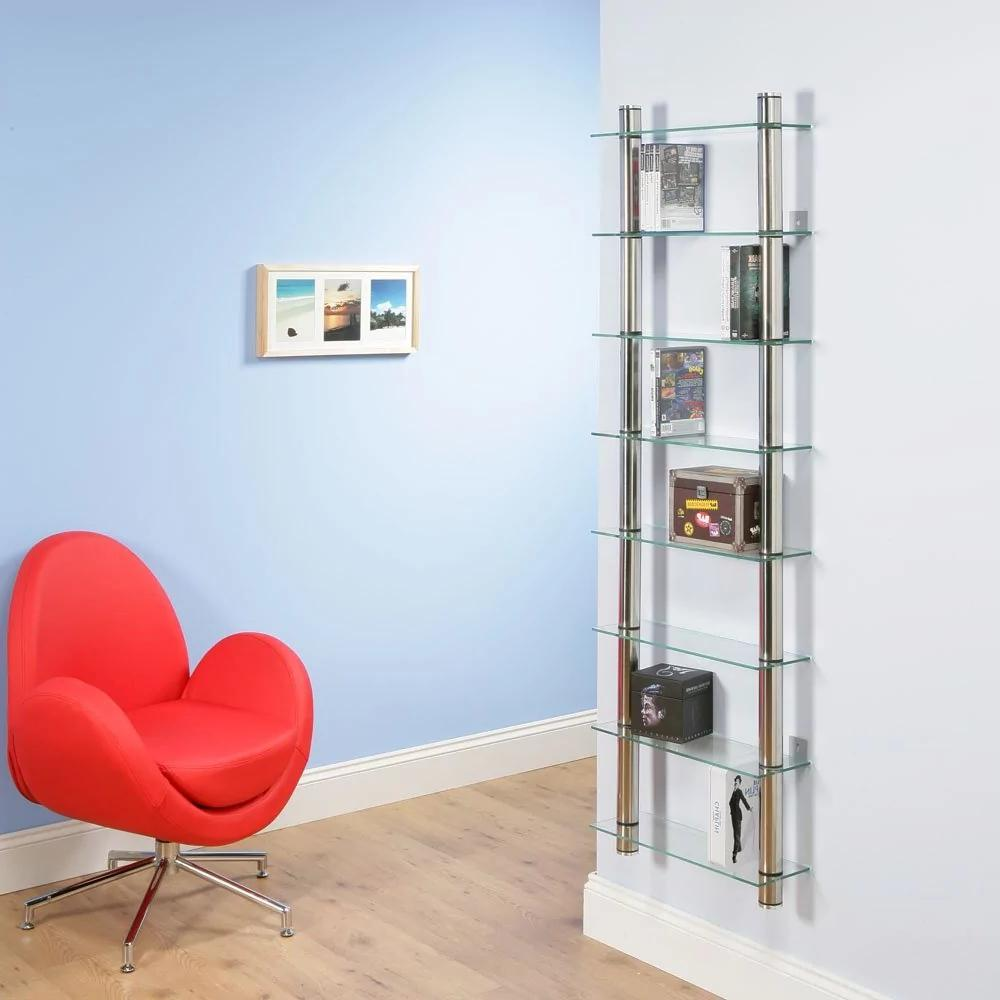Rack with glass shelves - under the books and photo frames