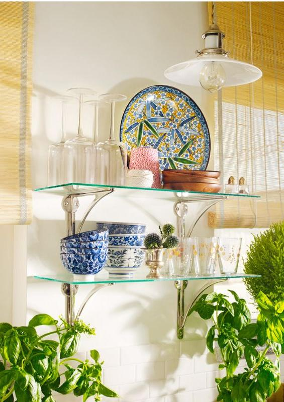 Thin glass shelves with silver shelf holders