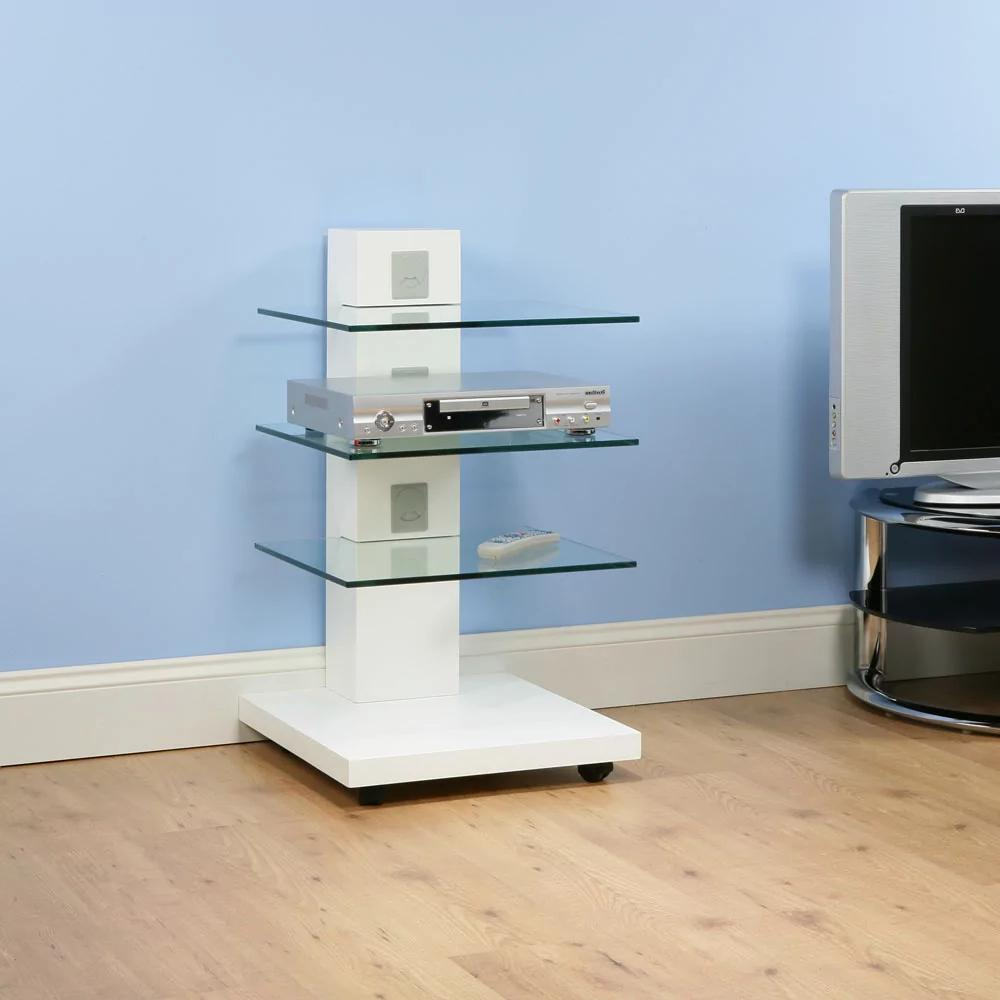White nightstand with glass shelves