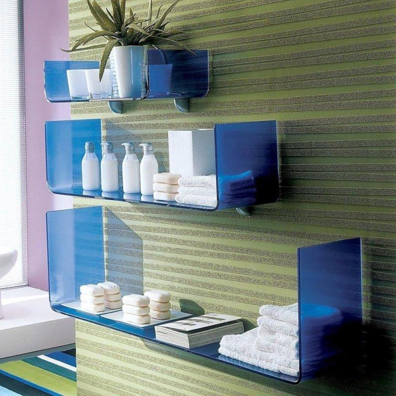 blue glass shelf designs