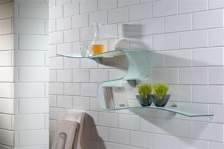 unusual glass shelf for bathroom