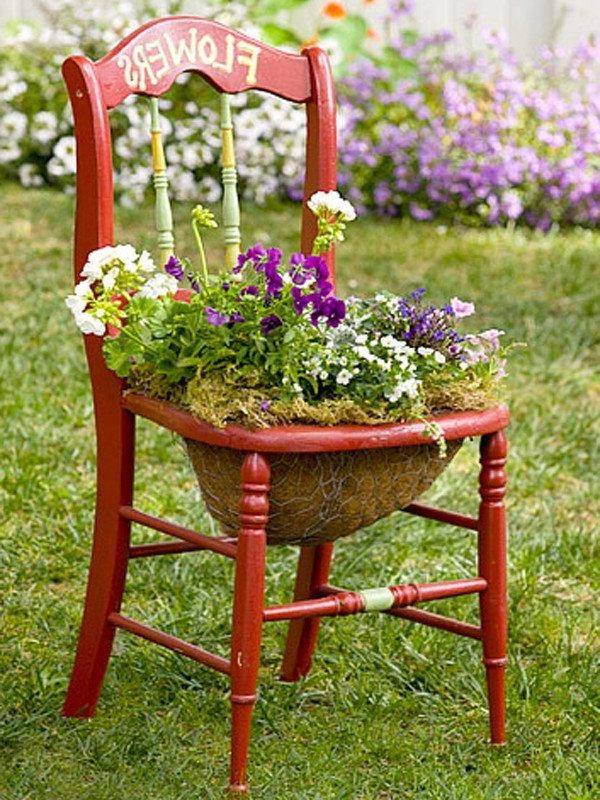 DIY Chair Wooden Plant Stands