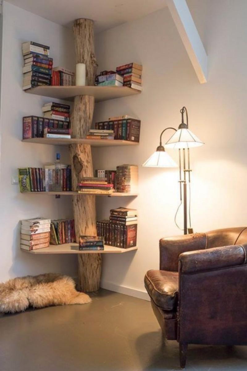 DIY Wood corner wall shelving