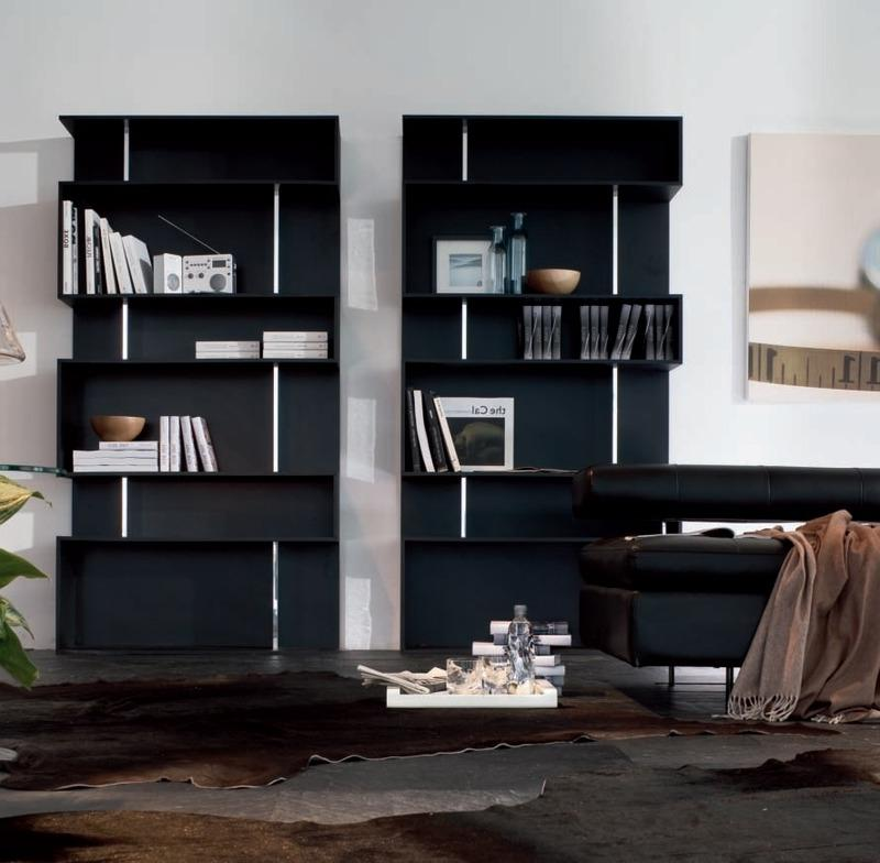 black wall shelving design