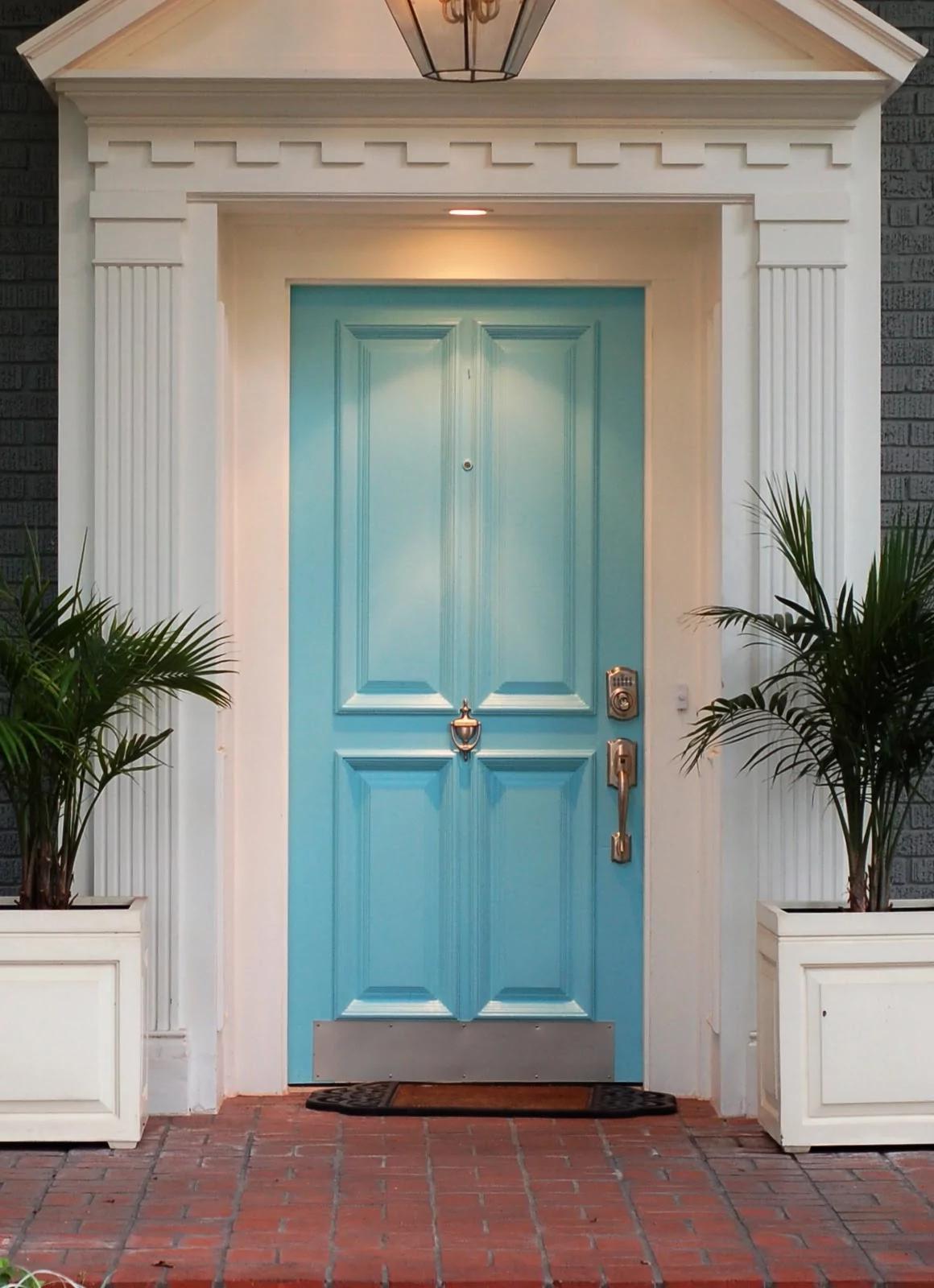 blue front door decor