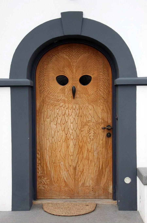 carved front door decor
