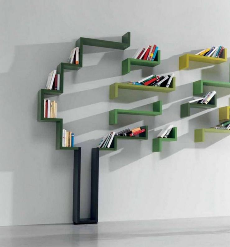 decorative shelving ideas for library
