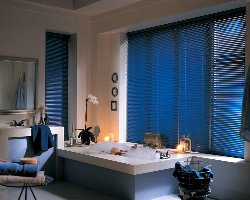 navy blue wooden blinds
