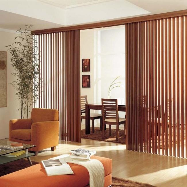 patio door wooden blinds