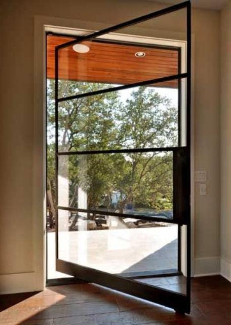 pivot black steel framed door with glass