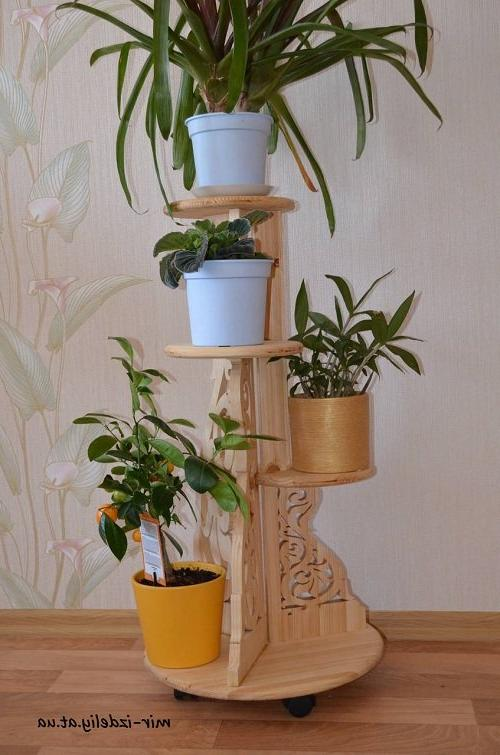plant pots with wooden stands