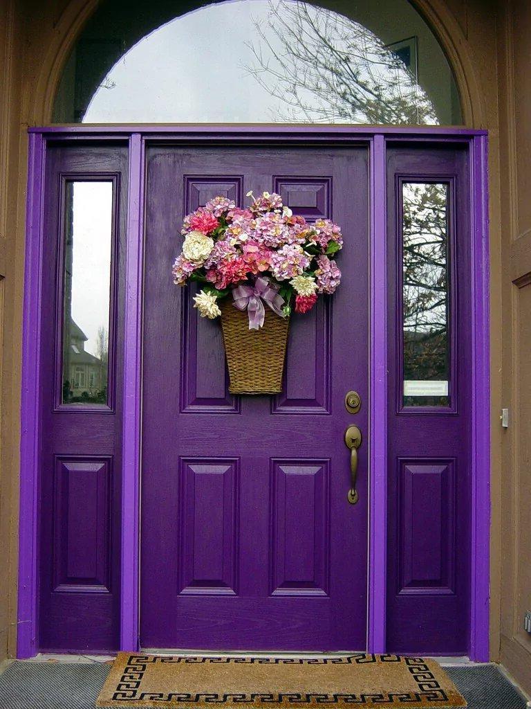 purple entrance decor