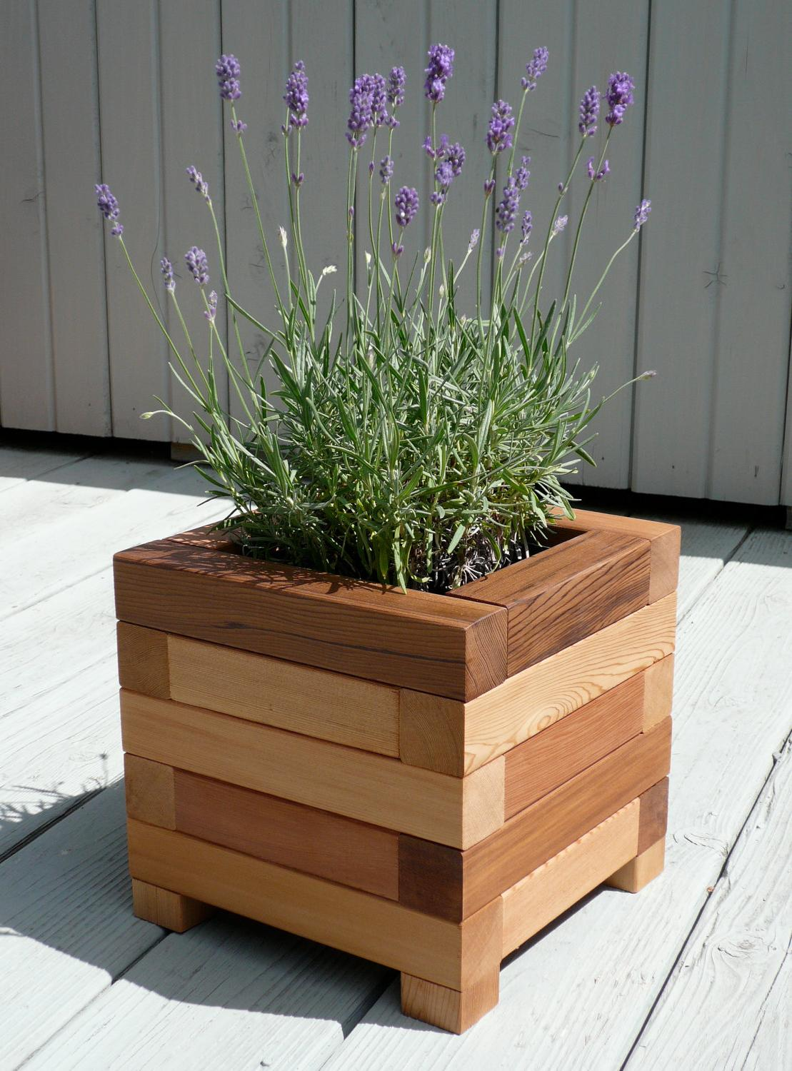 small square wooden plant stands