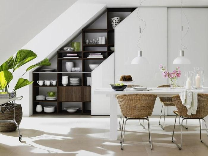 unique kitchen wall shelving under staircase