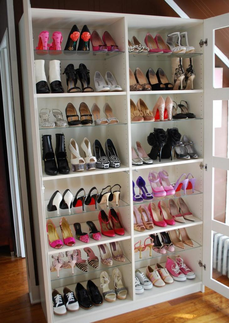 wall shelving ideas for shoe storage