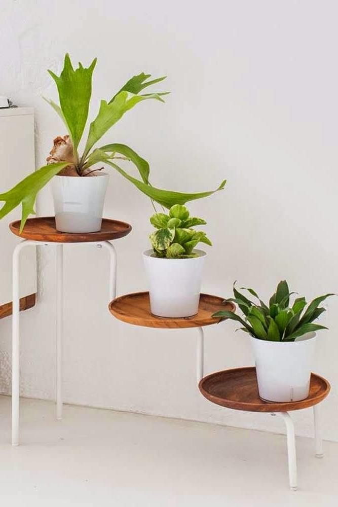wood plant stand stool
