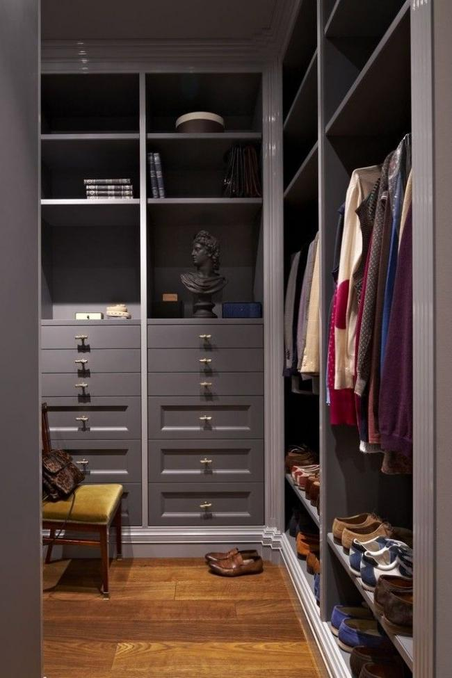 Stylish built-in wardrobe in the pantry room
