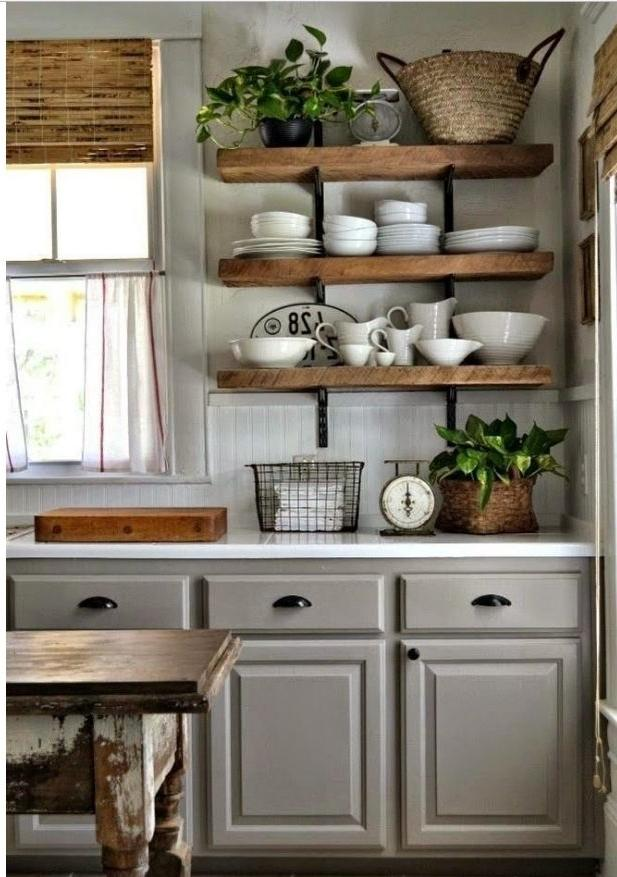 Wooden shelves in the kitchen - the most common option