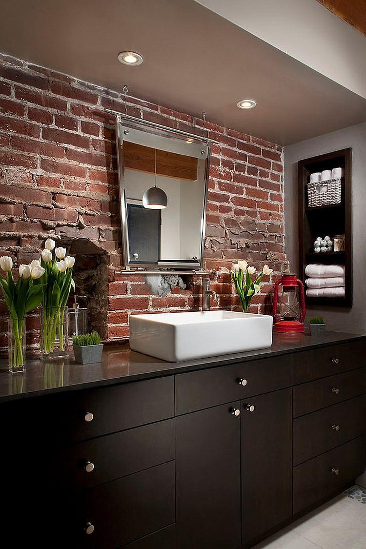 dark rustic bathroom vanity