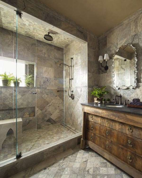 glass door for a shower for rustic room