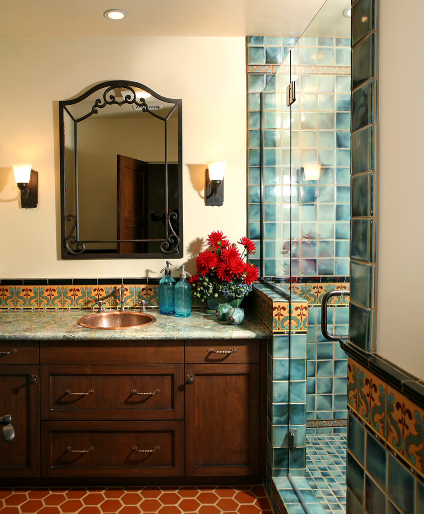 glass door for a shower with mirror and cabinet