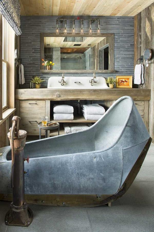 grey rustic bathroom vanity