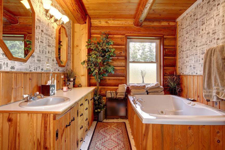 oak wood farmhouse bathroom vanity