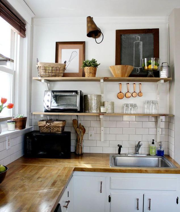 open shelves in a small kitchen