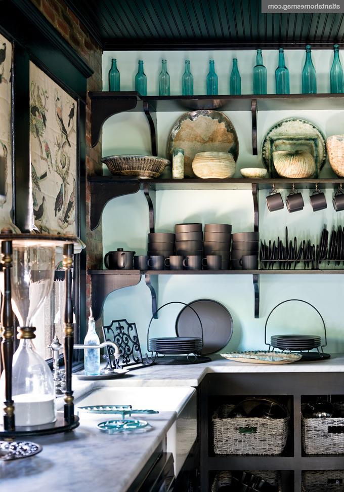 rustic open shelving kitchen