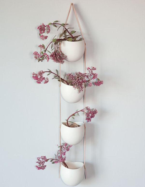 wall hanging plants ideas (Four-tier composition in pink and white)