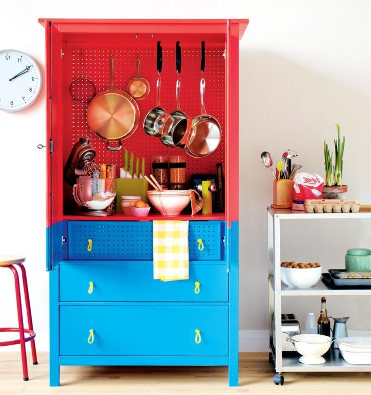 wooden pantry cabinet with three drawers and open shelf