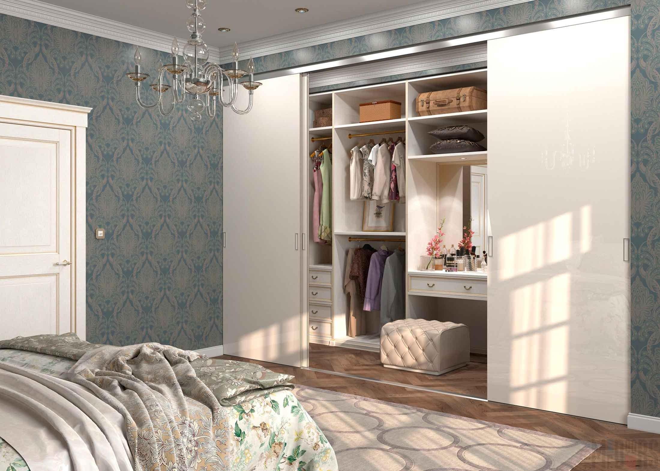 Bedroom interior with built-in wardrobe