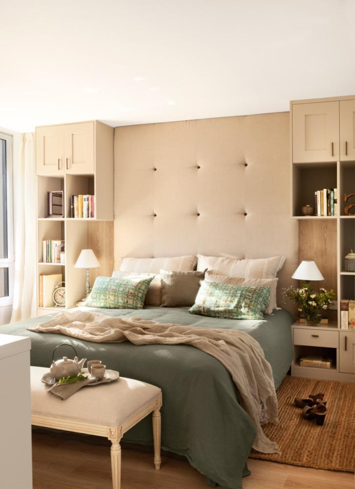 Convenient shelving on both sides of the bed
