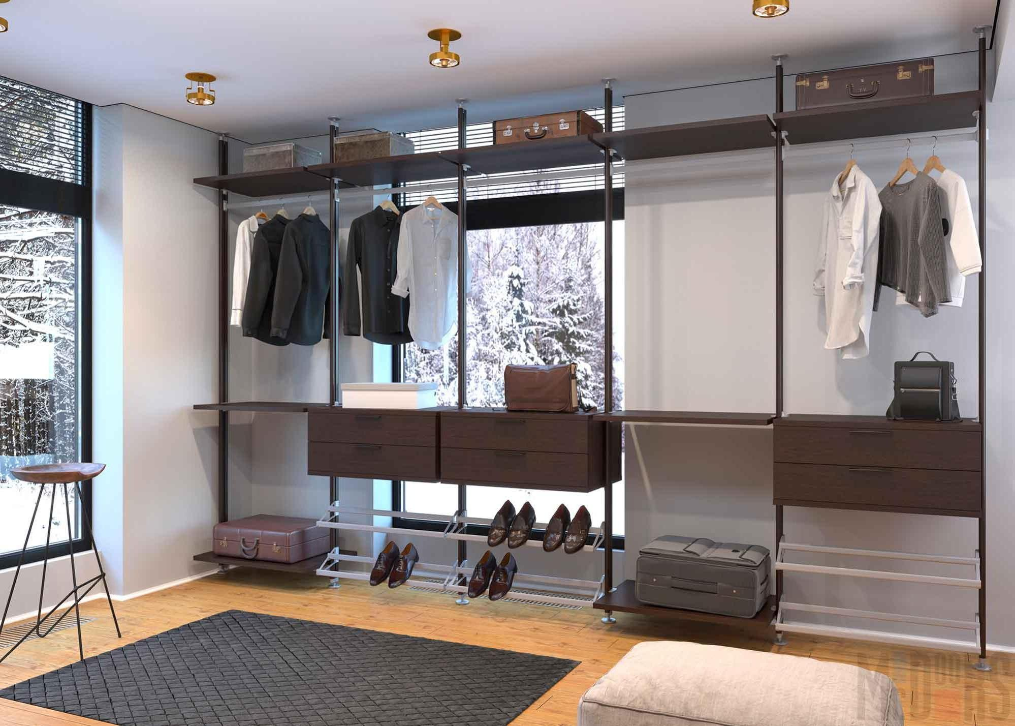Design of a wardrobe room in a country house