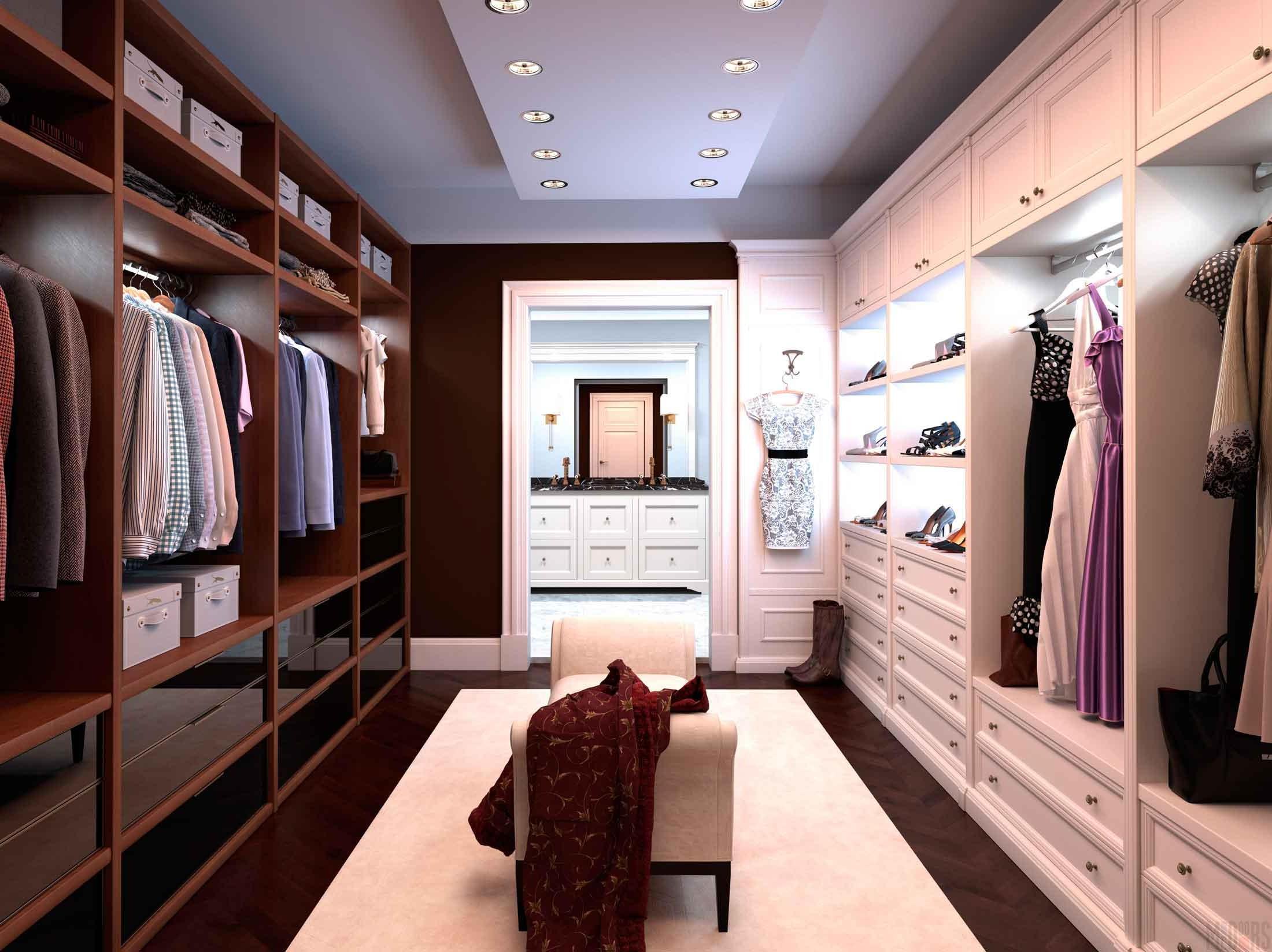 Dressing room design with transparent doors