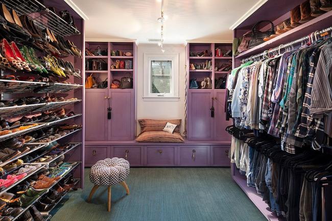 Eclectic walk-in closet