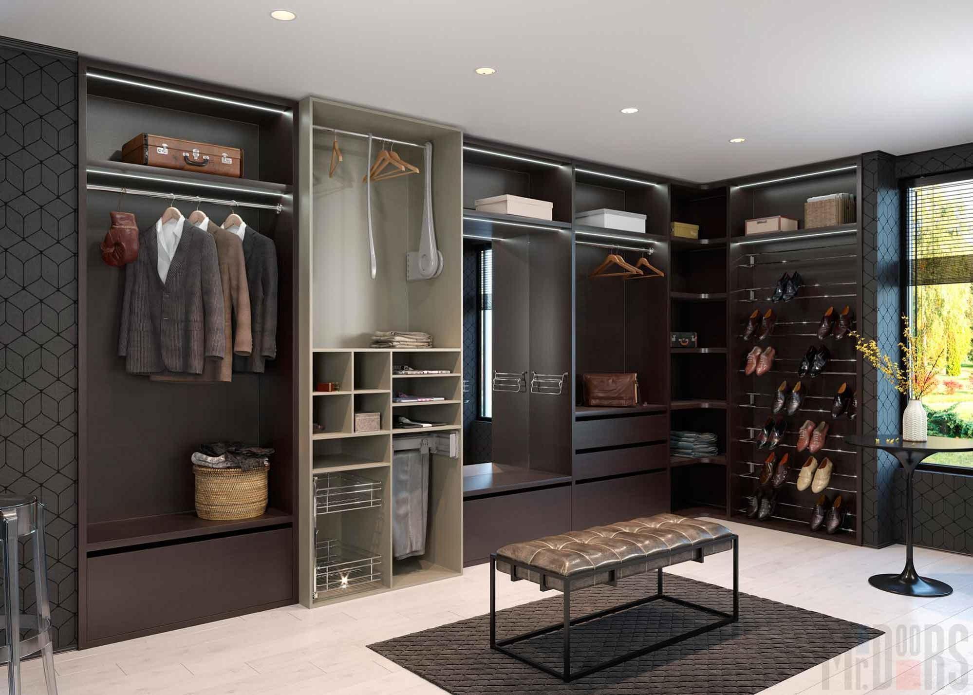 Interior design of the dark wardrobe room