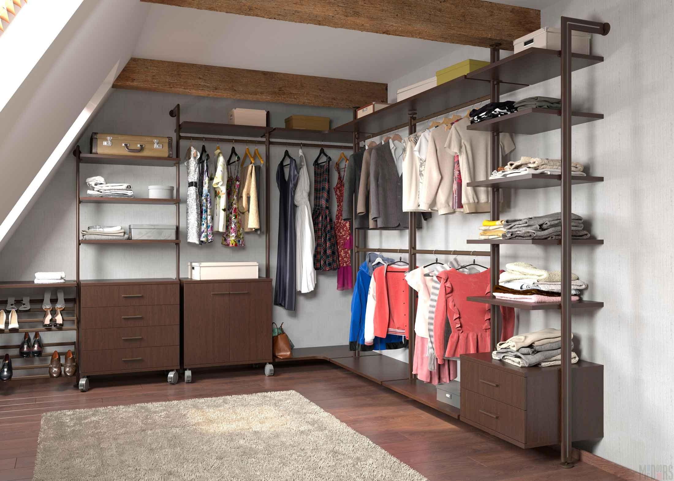 Interior design of the wardrobe room in the attic