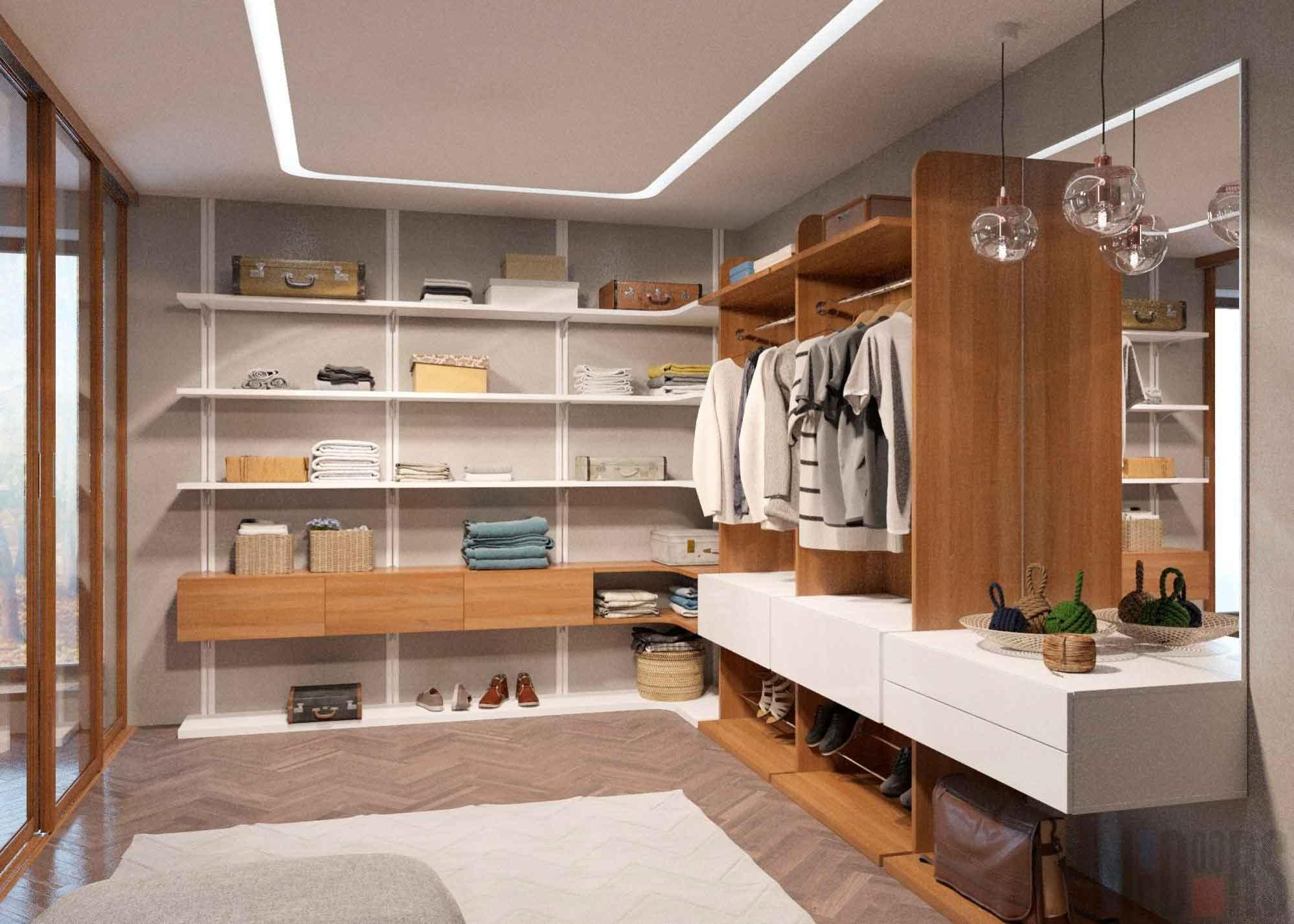 Interior dressing room with wooden shelves