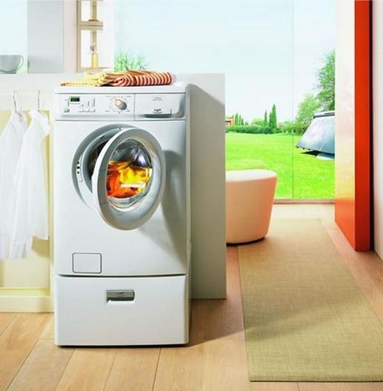 Laundry located in a room with huge glass